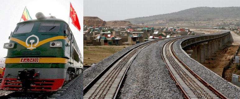由大陸中鐵承造的亞吉鐵路鐵軌與列車機頭。
