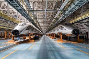 大陸高鐵CRH380A型動車組生產線。