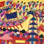陳芙蓉,《划龍舟》局部。(金山農民畫,1991)