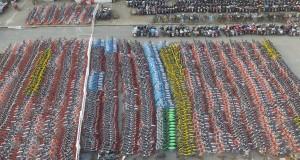 上海有4000輛共用單車「被扣」。(新華社 丁汀 攝)