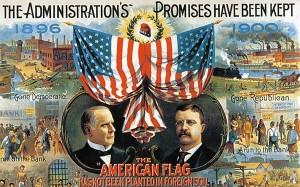 陳平認為目前中國大陸的經濟發展,類似於1900年的美國,而不是1970年的日本。突圍1900年美國總統的競選海報。(網路圖片)
