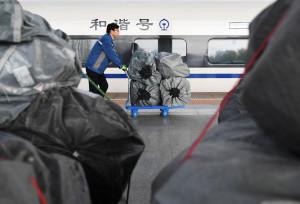 11月11日,一名工作人員推運快遞包裹裝上D2711次高鐵動車組列車。   (新華社 陳斌 攝)