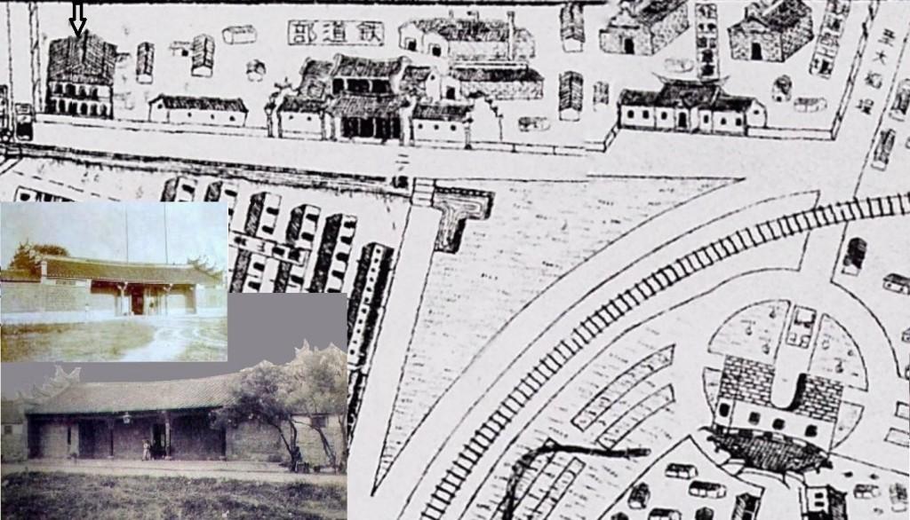 1911年《飛行機素描鳥目全圖》顯示北門外之「鐵道部時代」的前清機器局,其主要廠區包括製造工場之北廠區與南廠區,以及行政管理部門之中西合璧的官衙(參照左下照片),箭頭所指為德國人畢第蘭(Bitgran)所住的洋樓。