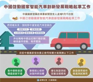 中國大陸啟動國家智慧汽車創新發展戰略起草工作。(新華社圖表)