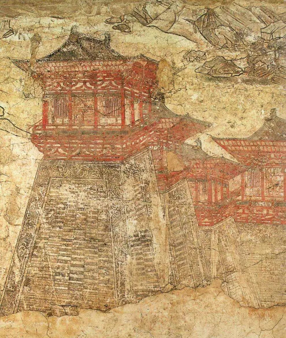 懿德太子墓壁畫《闕樓儀仗圖》局部