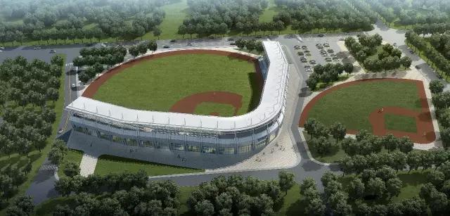 2013年落成的天津體育中心棒球場,共有兩塊標準比賽場地。