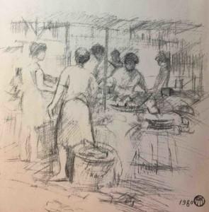 《臨時菜市》1980 吳耀忠畫/選自《施善繼詩選》扉頁。
