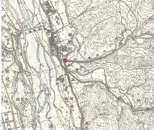 1924年東勢附近地形圖。紅線標記處為義渡橋位置。