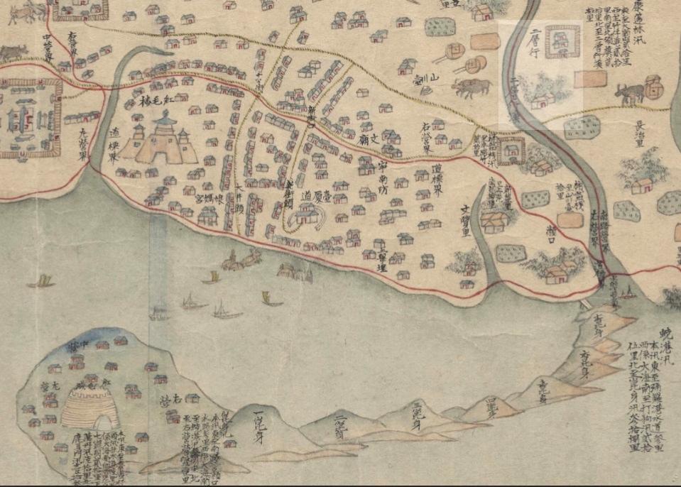 《台灣番社圖》,下面是西方。明亮處顯示二層行是在二層行溪的南方,乃是錯誤。