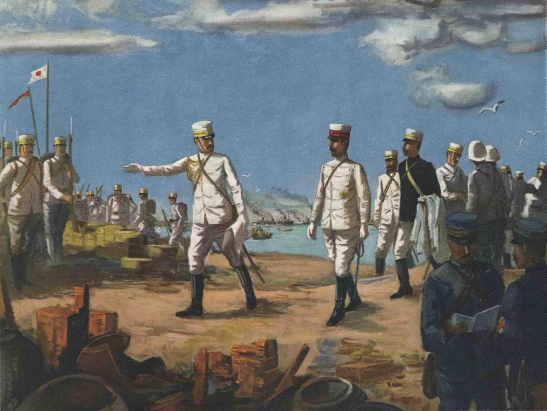 伏見宮貞愛親王所率的日軍從布袋嘴登陸的版畫。