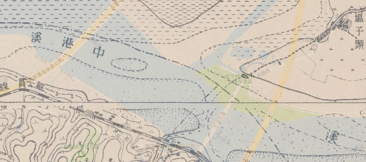 日據時期中港溪地圖中的官渡位置和現今地圖對照。