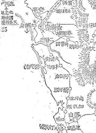 1895年日軍所繪台灣南部圖,可視為四十萬分之一的攻台地圖。可看到位於台南府南的二層行其地勢的重要。