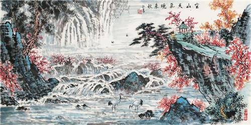 黃正襄畫作——空山天氣晚來秋。