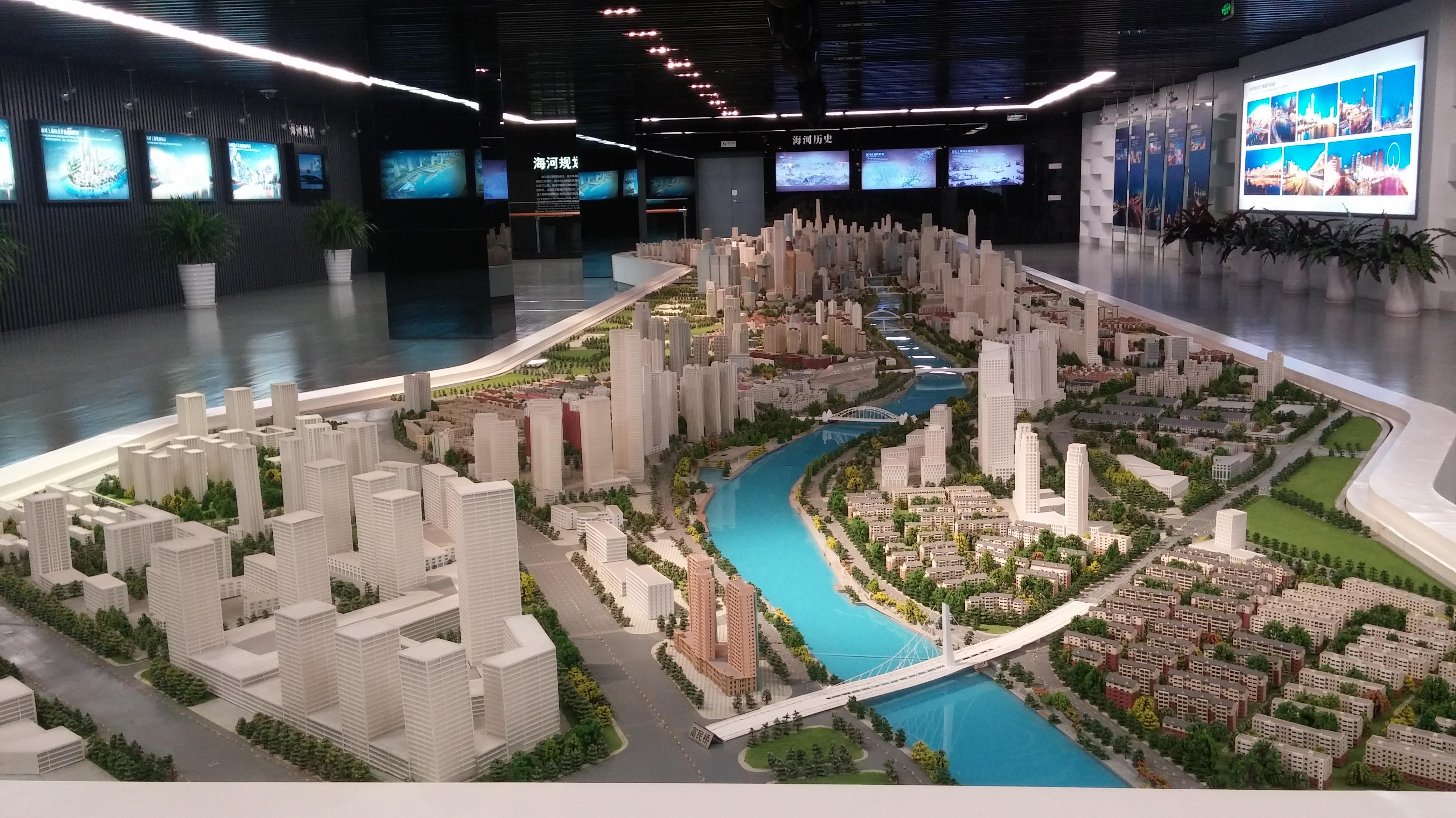 城市规划馆内的建筑模型.